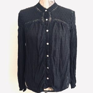 Free People black textured lace cut out button top